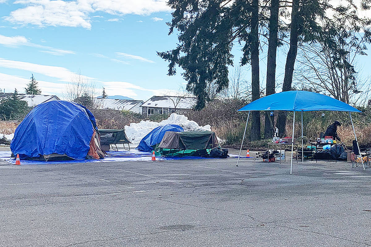 A makeshift cold-weather camp that popped over Family Day long weekend in Parksville, located in the back parking lot of St. Anne's church. (Mandy Moraes photo)