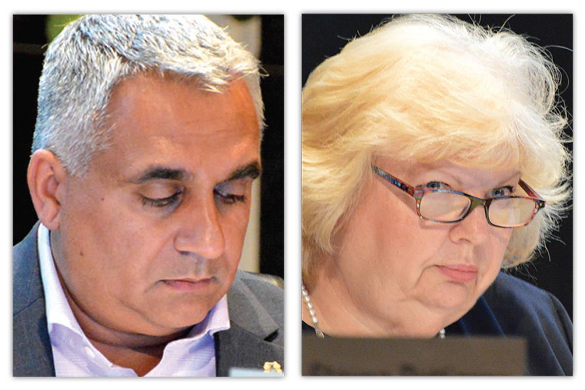 Surrey councillors Jack Hundial and Brenda Locke. (Photos: Now-Leader files)