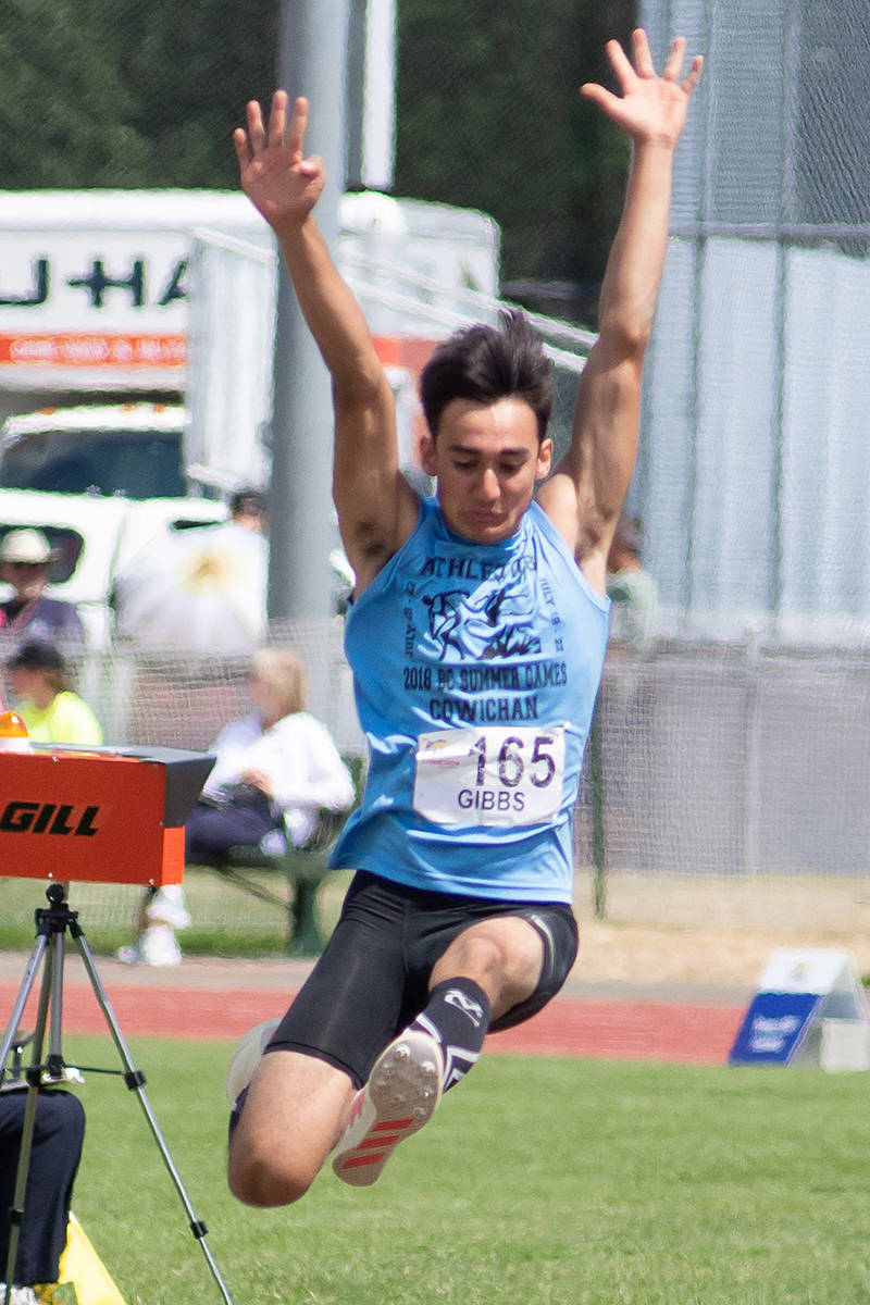 Mitchell Gibbs shows winning form in the long jump at the Cowichan games (Special to Langley Advance Times)