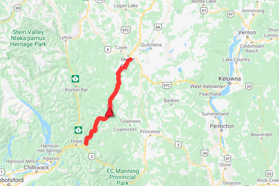 Highway 5 from Hope to Merritt is closed to southbound traffic due to a vehicle incident Wednesday, Feb. 17, 2021. (DriveBC photo)