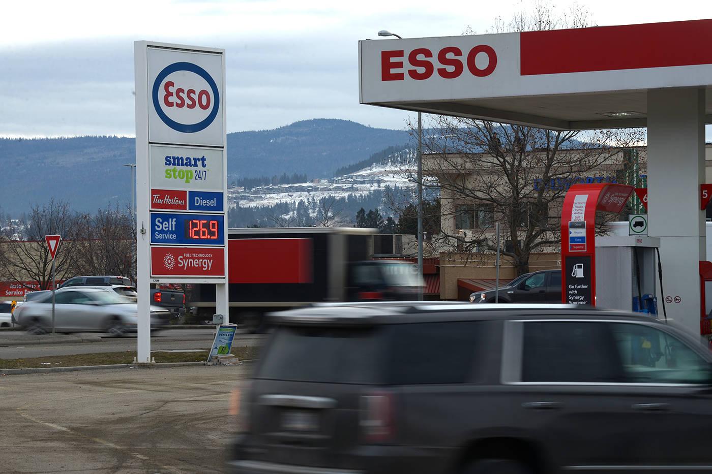 Gas prices seen in Kelowna on Feb. 18, 2020. (Phil McLachlan – Kelowna Capital News)
