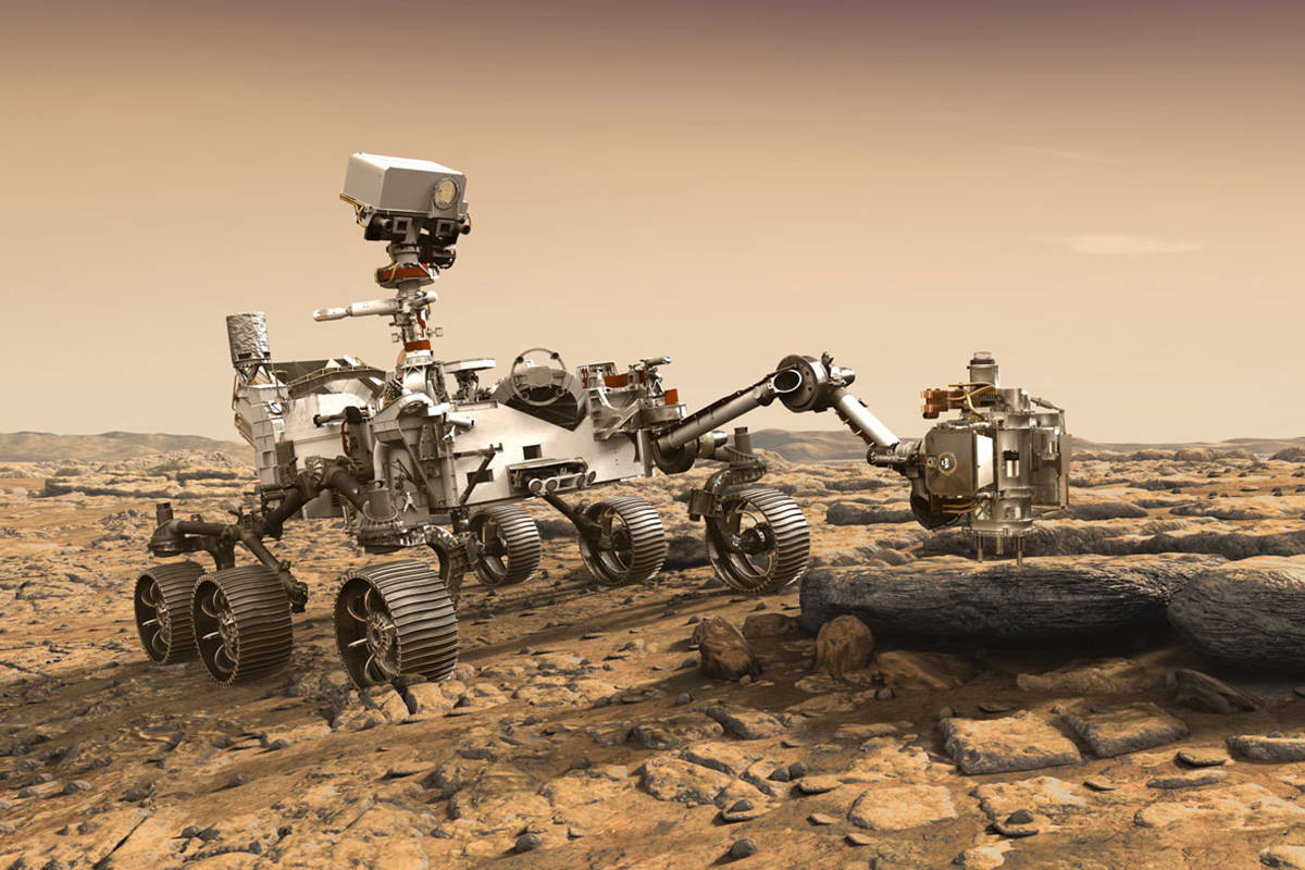 The Mars Perseverance Rover is roughly the size of an SUV, equipped with exploratory instruments and new oxygen-producing technology. (NASA image)