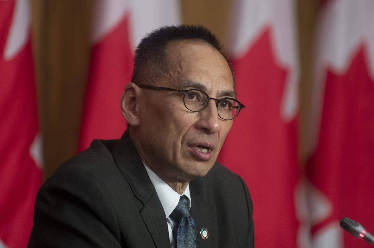 Deputy chief public health officer Dr. Howard Njoo responds to a question during a news conference, Tuesday, Jan. 12, 2021 in Ottawa. THE CANADIAN PRESS/Adrian Wyld
