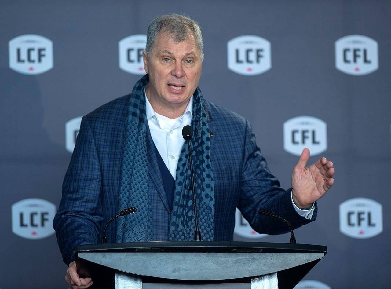CFL commissioner Randy Ambrosie speaks at a news conference in Halifax on January 23, 2020. THE CANADIAN PRESS/Andrew Vaughan