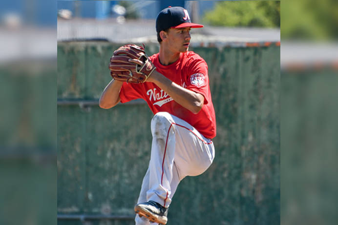 Brady Sandes in action for the Cloverdale Nationals. (Image via fieldlevel.com)
