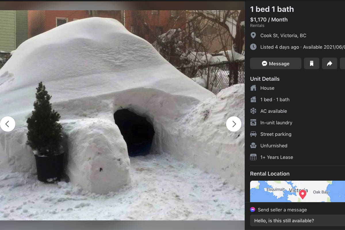 A Facebook advertisement for a 'one-bedroom' igloo garnered plenty of comments and messages. (Facebook)
