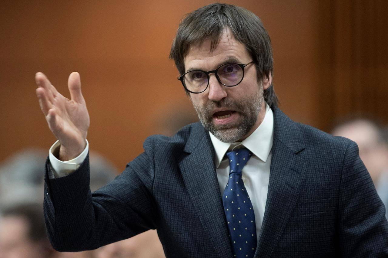 Minister of Canadian Heritage Steven Guilbeault responds to a question during Question Period in the House of Commons, Monday, Feb. 3, 2020 in Ottawa. THE CANADIAN PRESS/Adrian Wyld
