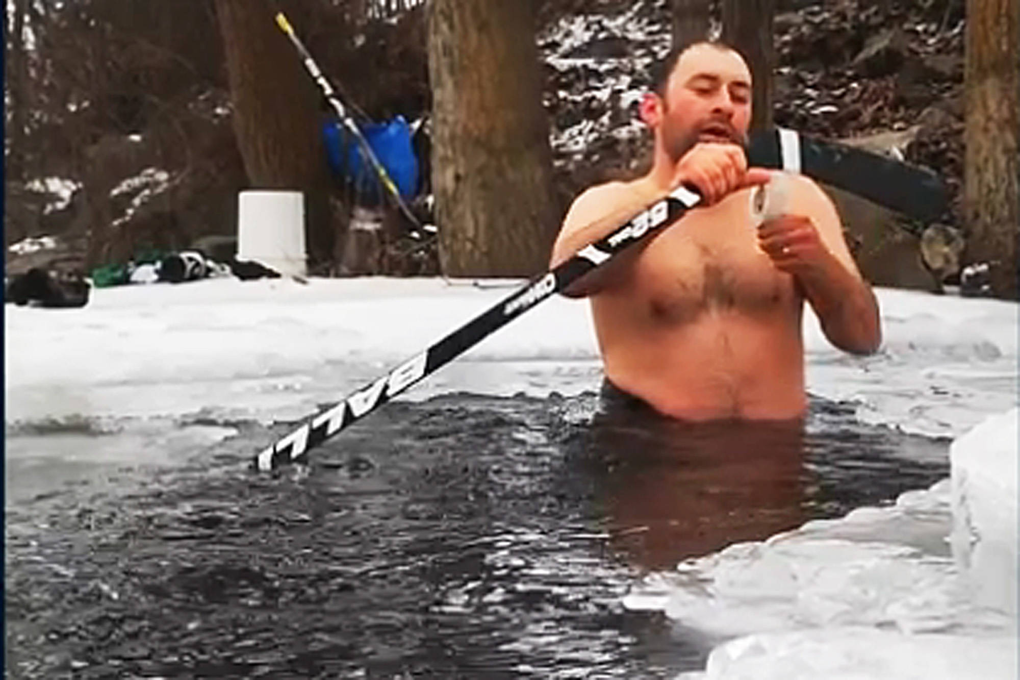 Chase's Mick DeRoo-Ludwig staged a one-man hockey game on the narrow and not entirely frozen Chase Creek to encourage others whose games and seasons were cancelled. (Mick DeRoo-Ludwig/Facebook)