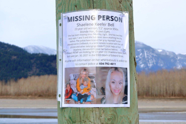 A poster for missing Chilliwack mom, Shaelene Bell, is seen by the Fraser River on Sunday, Feb. 14, 2021. (Eric Buermeyer)