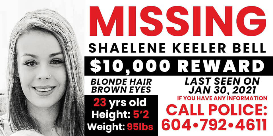 A local Realtor is offering a $10,000 reward for the safe return of Shaelene Keeler Bell. (Submitted to the Chilliwack Progress)