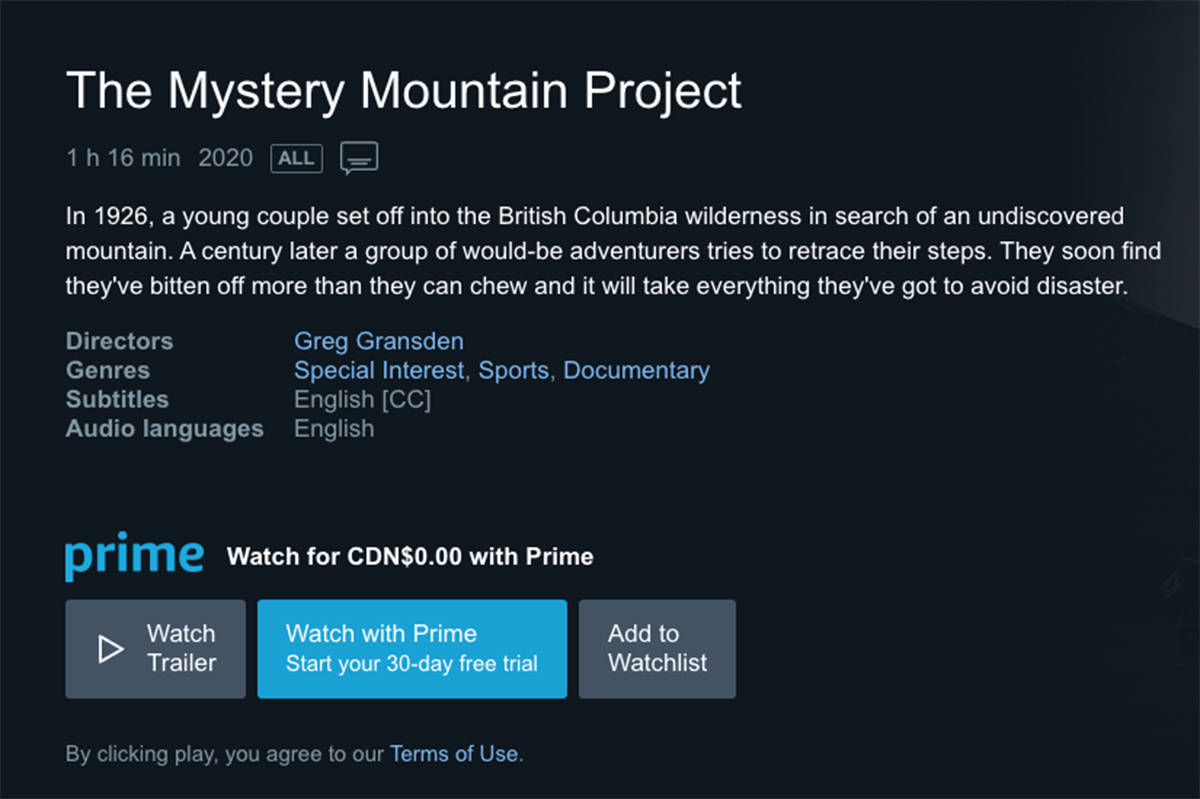 """Screenshot of Amazon Prime's """"The Mystery Mountain Project"""""""