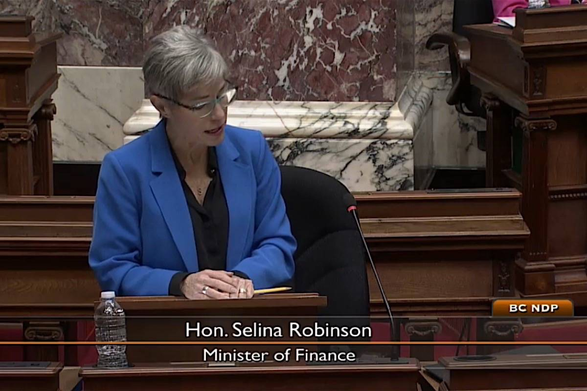 B.C. Finance Minister Selina Robinson presents bill to delay B.C.'s budget as late as April 30, and allow further spending before that, B.C. legislature, Dec. 8, 2020. (Hansard TV)