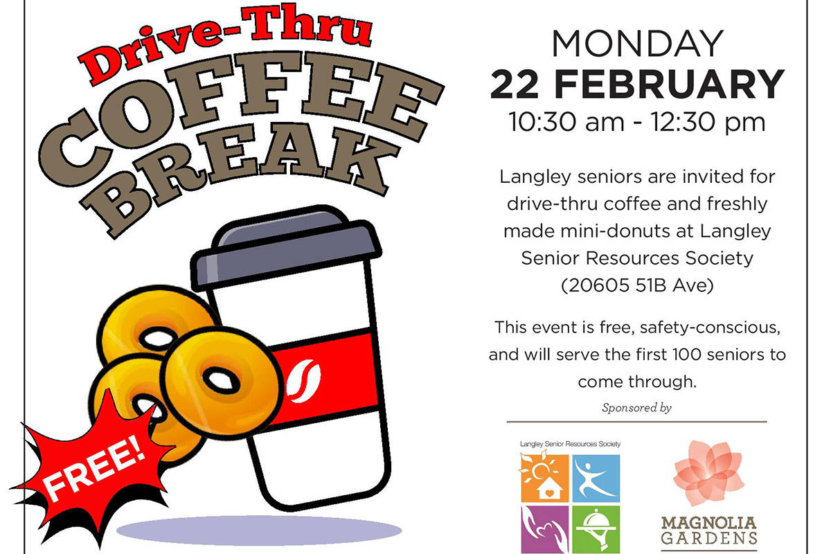 Langley Senior Resources Society is hosting a drive-through event on Monday, Feb. 22 from 10:30 a.m. to 12:30 p.m. for local seniors. (LSRS/Special to Langley Advance Times)