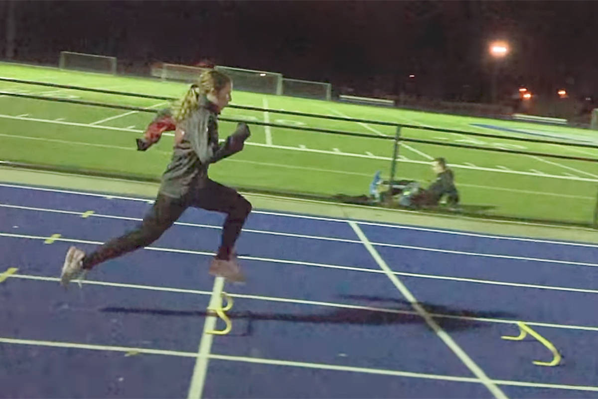 Langley Mustangs athlete Jade Lenton got in an off season speed workout under the lights at McLeod Athletic Park this month. Thanks to some creative flexibility during the COVID-19 pandemic, the club membership numbers are close to pre-virus levels (Langley Mustangs Track and Field Club video)
