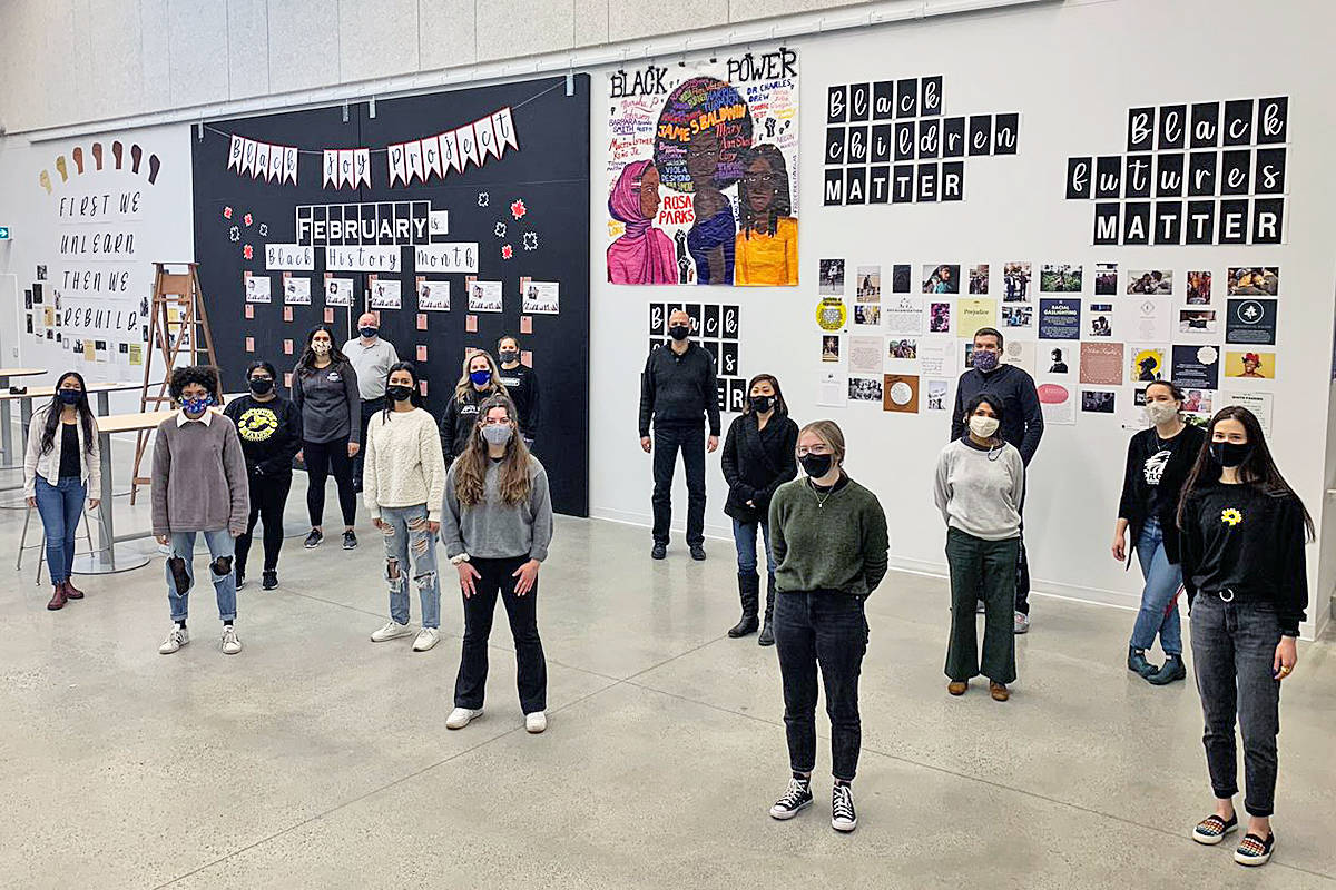 Students at R.E. Mountain Secondary School created a Black History Month display that covered several walls (Special to Langley Advance Times)