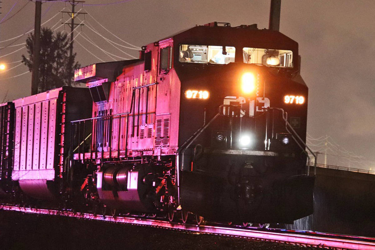 Emergency crews were called to the area of Glover Road and Mufford Crescent on Sunday, Feb. 21, 2022 after a CP Rail train had collided with an individual near a homeless campus in Langley. (Shane MacKichan/Special to Langley Advance Times)