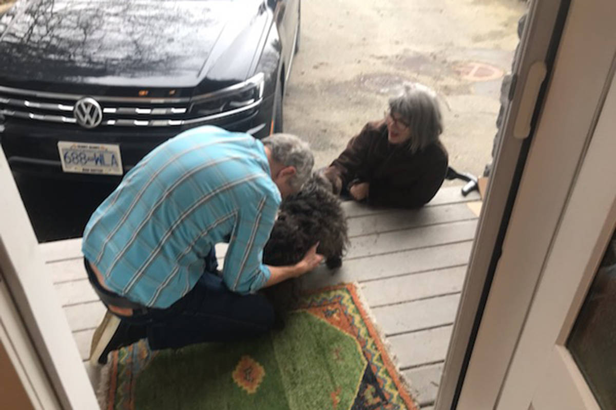 Tim and Yvonne Everson see Callie after she went missing for 43 hours. (Wade Deisman photo)