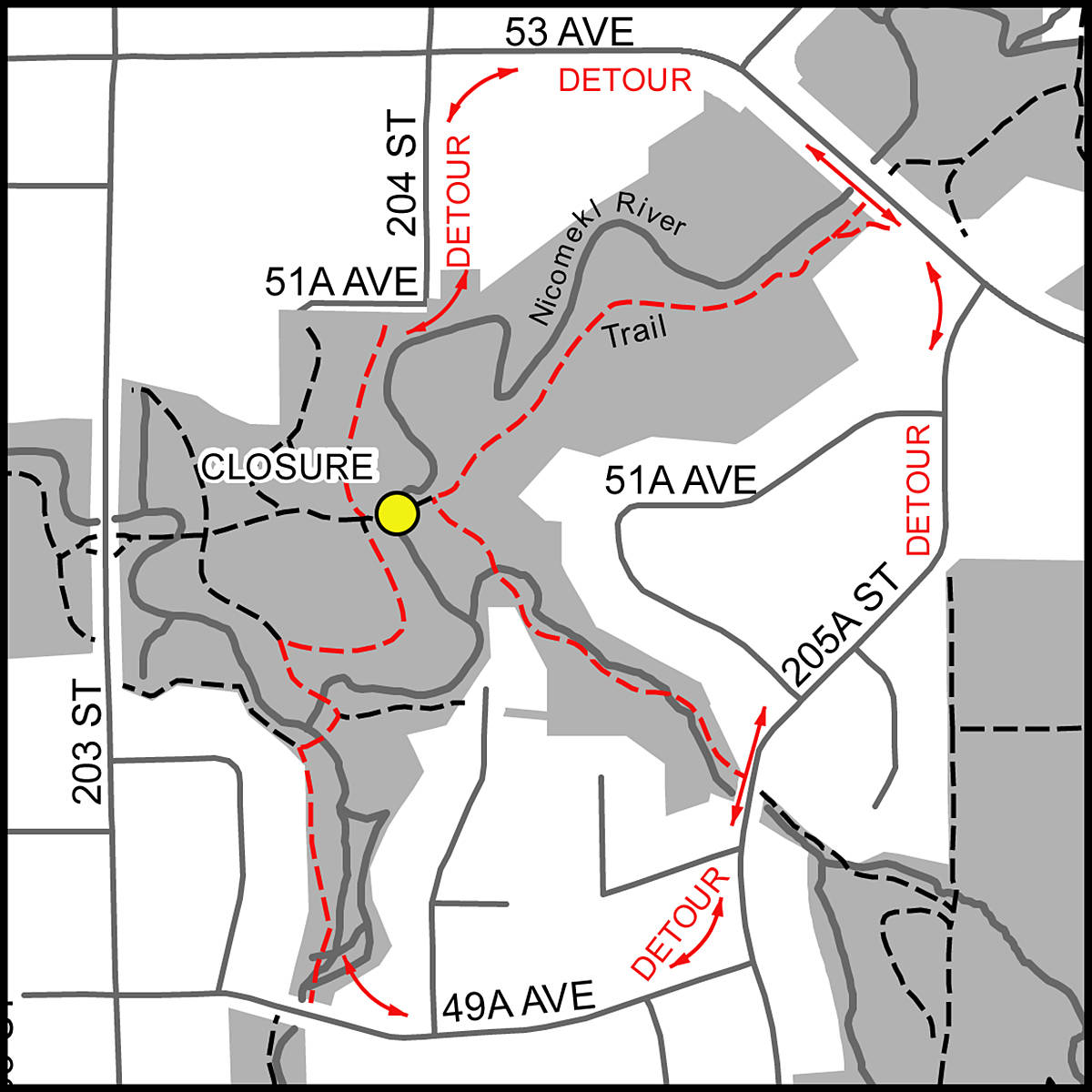 To prevent possible contamination of the Nicomekl River, Langley City crews lifted out a pedestrian bridge for sandblasting and refinishing. Until it is replaced, residents are advised to find other pathways. (Langley City graphic)