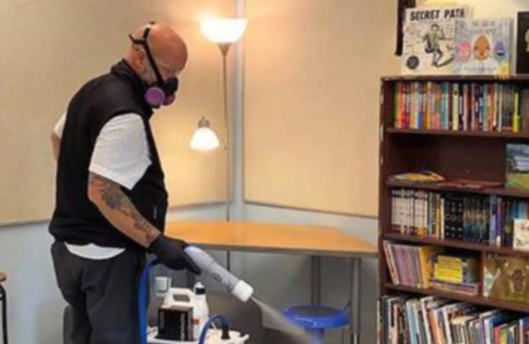 A classroom in Surrey school district is cleaned last year. Over the weekend, school communities in Surrey and Delta were advised of exposures to the B.1.1.7 (U.K.) variant of the COVID-19 virus. In some cases individuals and in others entire classes, have been directed to stay home and self-isolate while awaiting test results. (file photo surreyschools.ca)