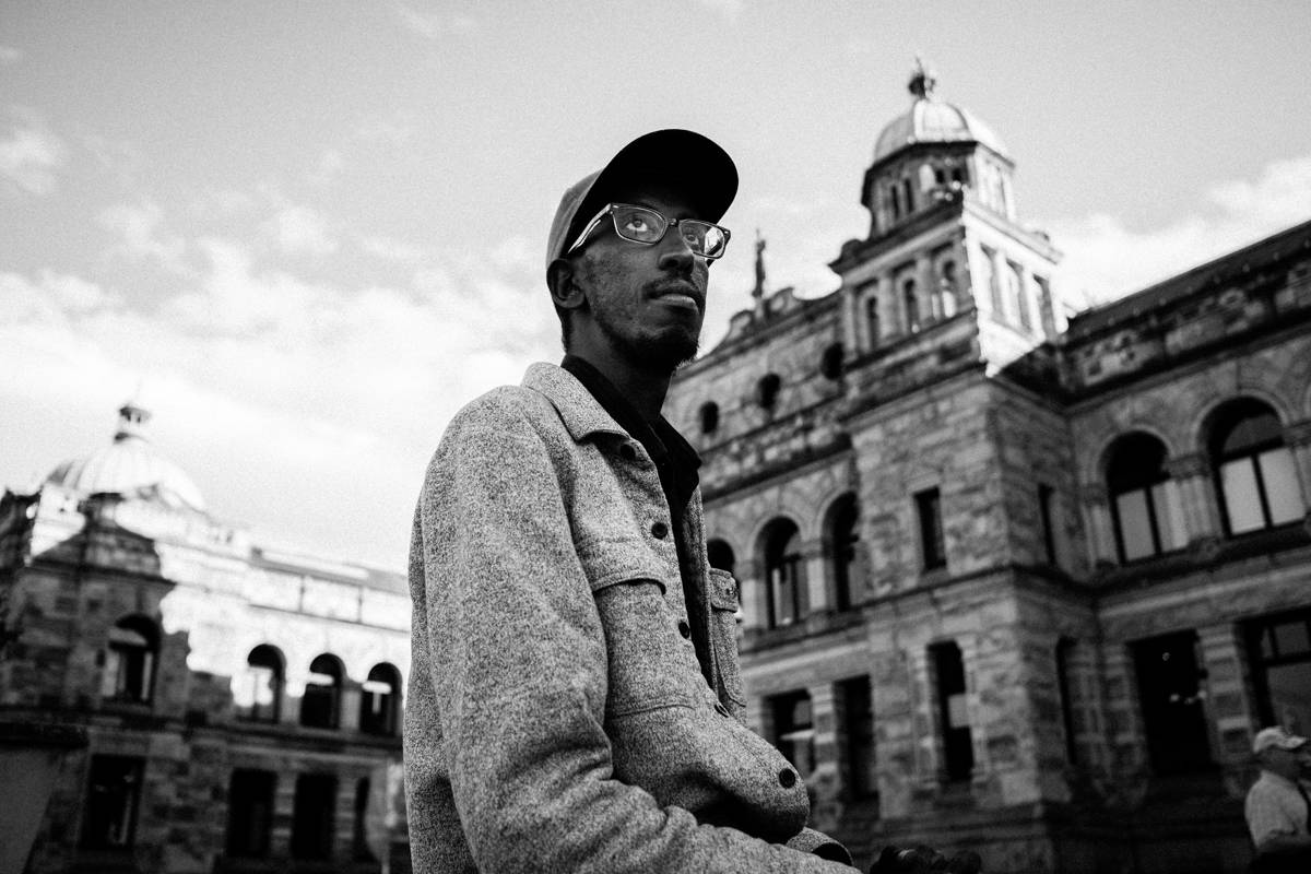 Victoria Coun. Sharmarke Dubow faced said the racism he faced after his holiday travels are a reminder that anti-Black racism exists in our community. (Photo by Quinton Gordon)
