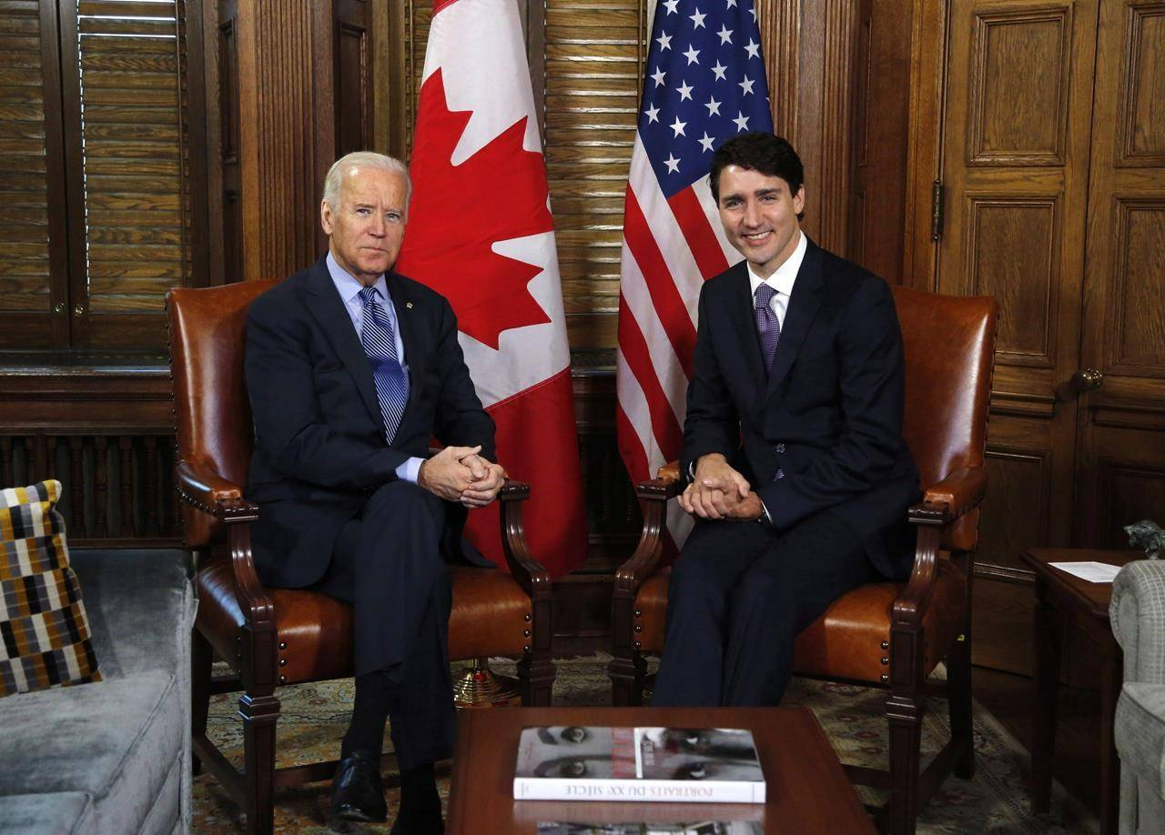 Prime Minister Justin Trudeau meets with US Vice-President Joe Biden on Parliament Hill in Ottawa on Friday, December 9, 2016. THE CANADIAN PRESS/Patrick Doyle