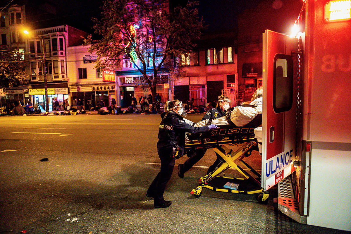 "Average response times for critical ""purple"" and ""red"" calls were between nine and 10 minutes Feb. 19 in Metro Vancouver, with only less critical ""yellow"" calls receiving an average response time of 45 minutes. The longer than usual delay was due to a combination of factors, BC Emergency Health Services said. (APBC image)"