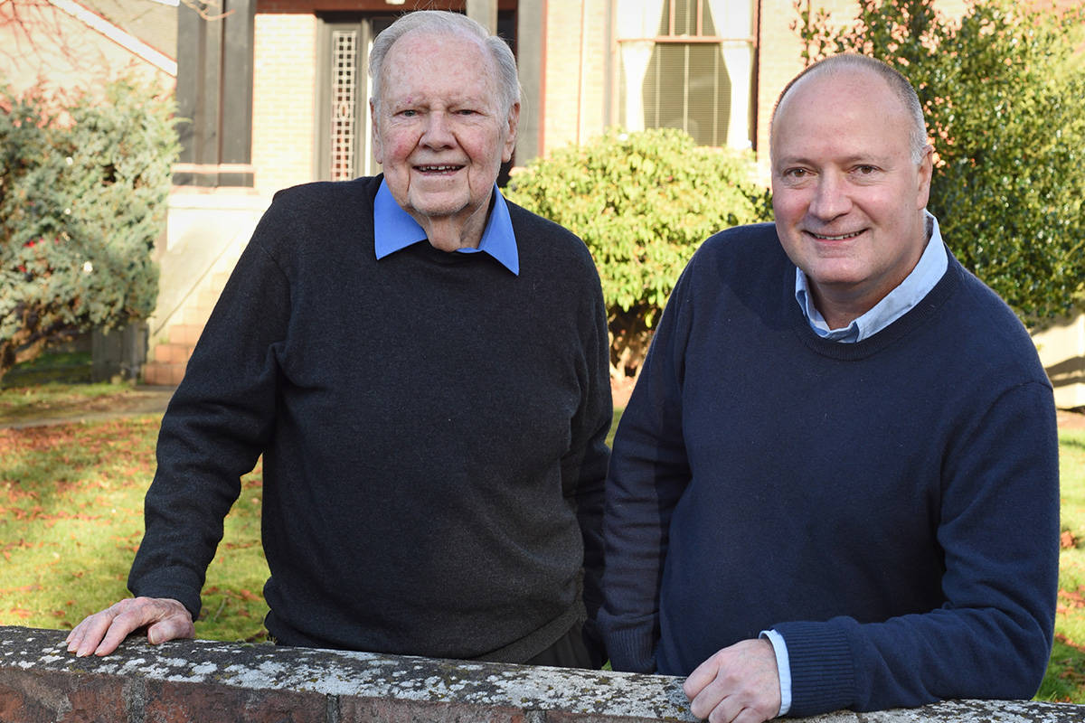 January 15, 2021 - Father and son, Gordon (Left) and Chris Denford, owners of Berwick Retirement Communities, outside their Victoria offices.  Don Denton photo