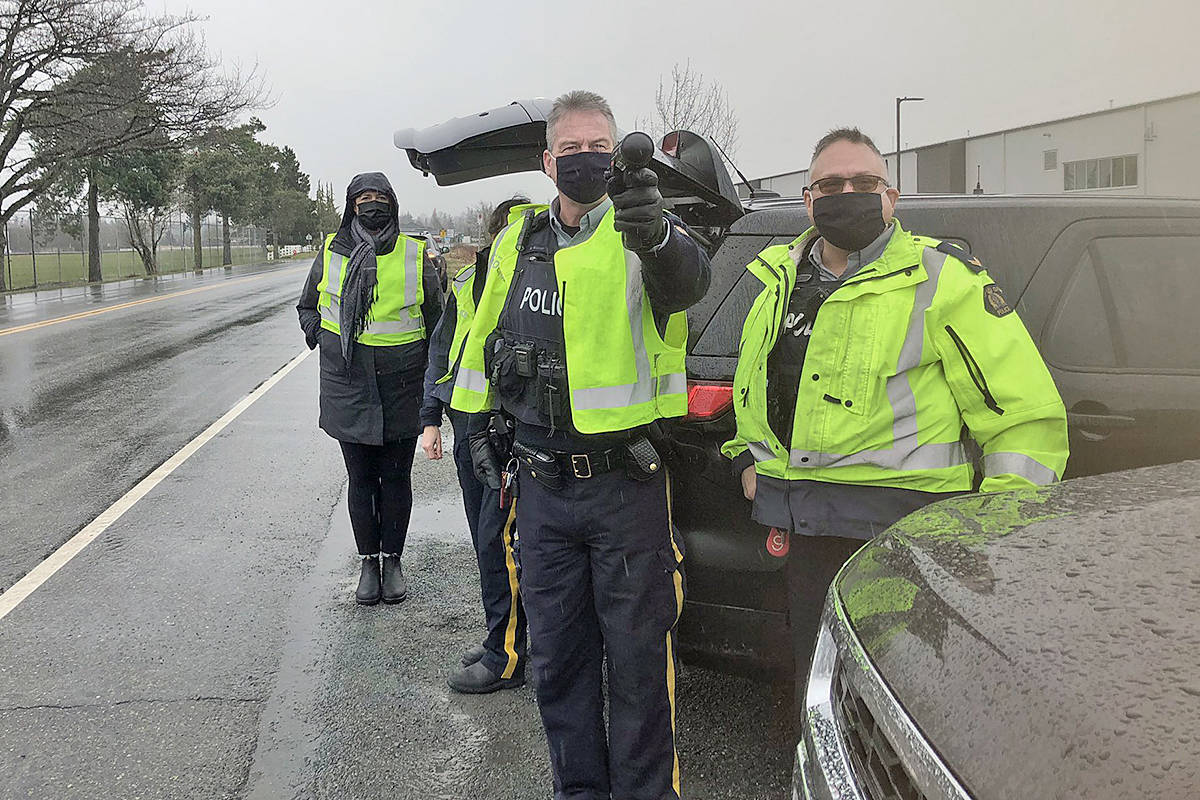 Drivers who ignored a speed reader board were pulled over by police in Langley on Feb. 18. (ICBC)