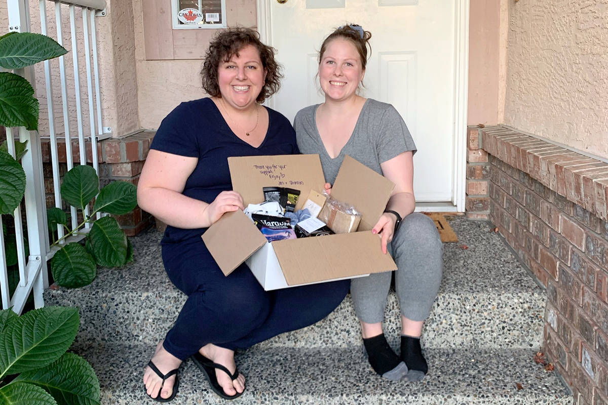 Langley sister Shannon Obando, 35, and Jen Spier, 29, started Hope in a Box, which features items from local small businesses, to fundraiser for non-profit Hope International. (Special to Langley Advance Times)