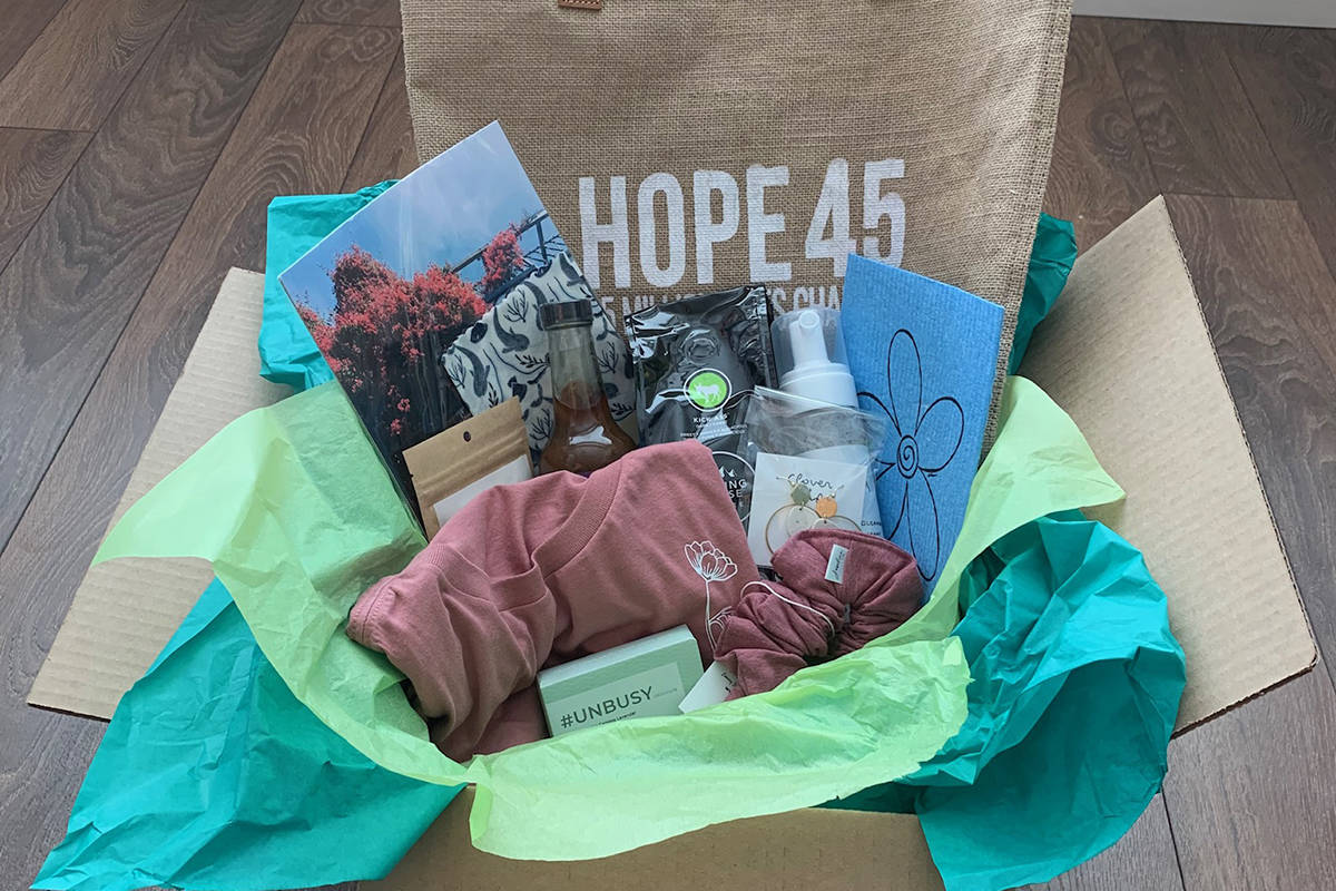 Hope in a Box is a fundraiser started by two Langley sisters (Shannon Obando and Jen Spier) to raise money to for Hope International. The box features items from local small businesses. (Special Langley Advance Times)
