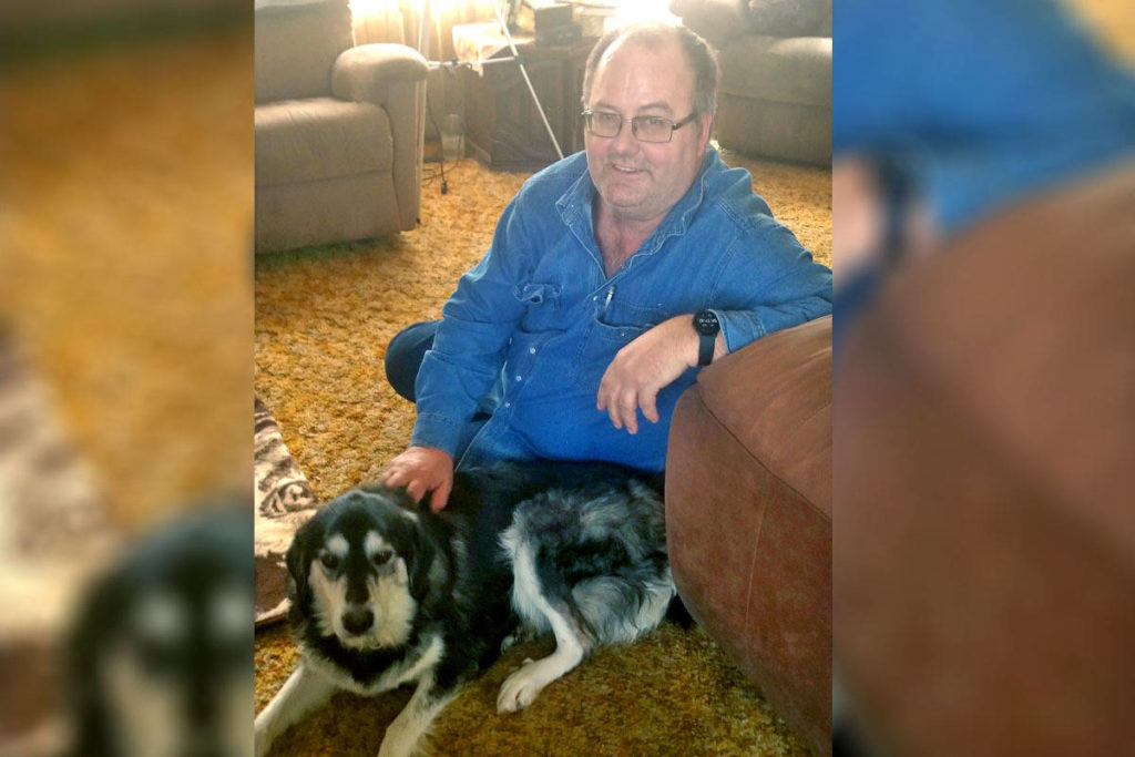 Wade Dyck with Luna, a dog who went missing near the Chasm for 17 days following a rollover on Feb. 5. (Photo submitted).