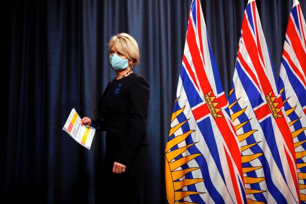 Dr. Bonnie Henry leaves the podium after a news conference at the legislature in Victoria on Friday, January 22, 2021. THE CANADIAN PRESS/Chad Hipolito