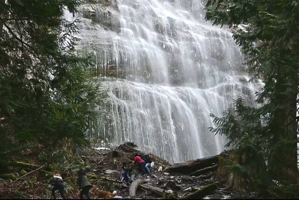 Screenshot of a video sent in to The Chilliwack Progress shows ice chunks falling at Bridal Veil Falls Provincial Park on Feb. 20, 2021. The park was closed on Nov. 1, 2020 and is not set to open to the public until March 31, 2021. (Submitted