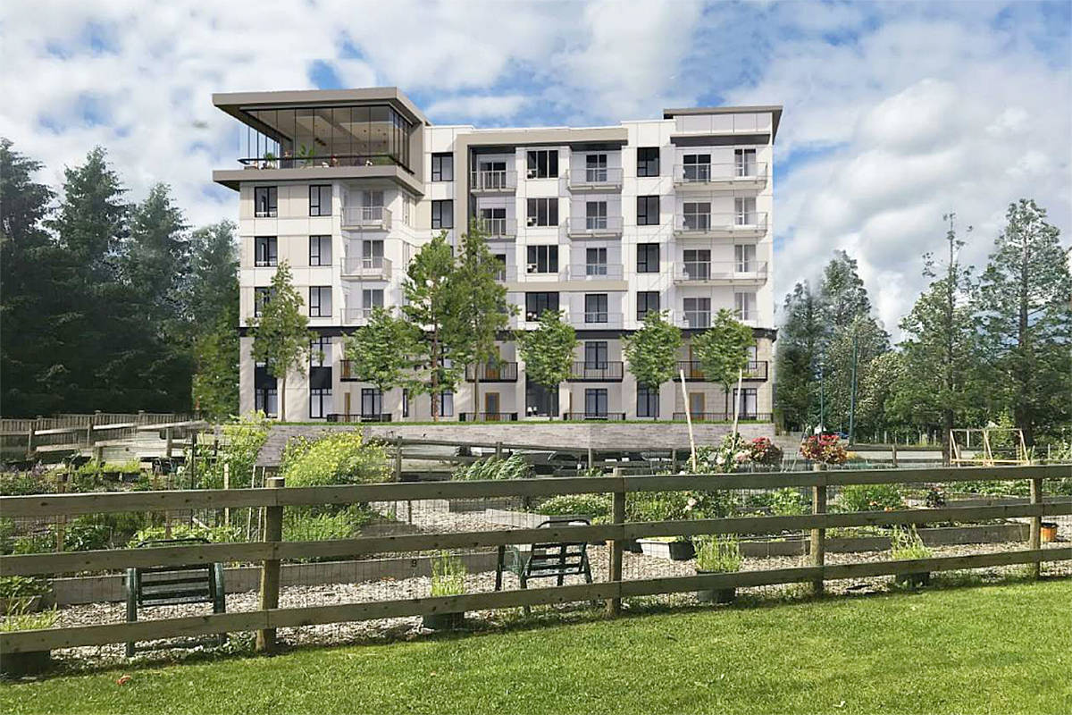 Artist's impression of the six-storey rental development planned to replace the West Country hotel in Langley City in the 20200 block of 56th Avenue, as seen from the community park on Michaud Crescent (Pennyfarthing image)