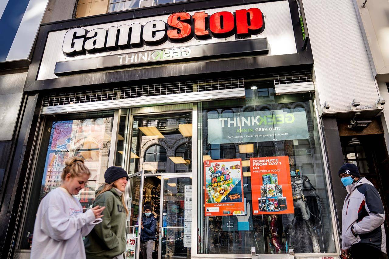 Wall Street's mania over GameStop is on again, at least for one afternoon. Shares in the troubled video game company more than doubled Wednesday, Feb. 24, 2021 to $91.71 apiece, the stock's best day since Jan. 27, when it was going for $347.51 a share. (AP Photo/John Minchillo)