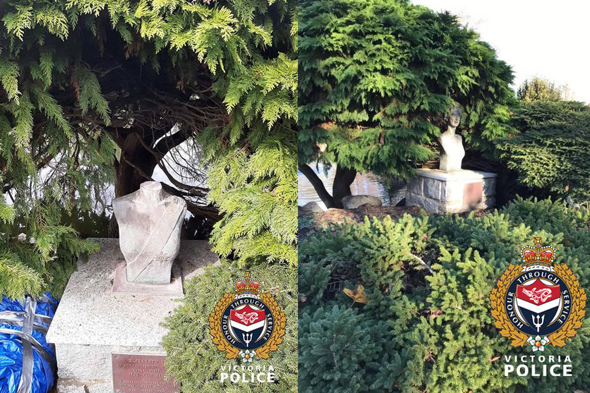 Victoria police are investigating after the head of Beacon Hill Park's Queen Elizabeth II statue was removed. (Courtesy of Victoria Police Department)