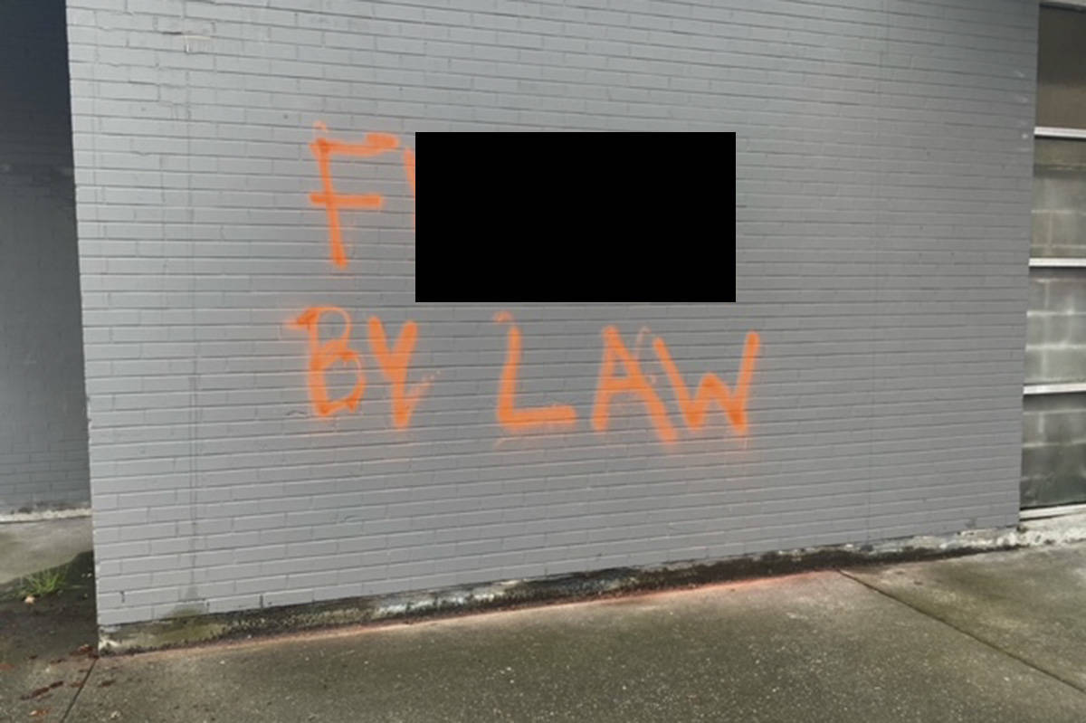 Various Victoria locations were hit with a slew of anti-bylaw graffiti Wednesday. This image has been altered to cover up profane language. (Submitted photo)