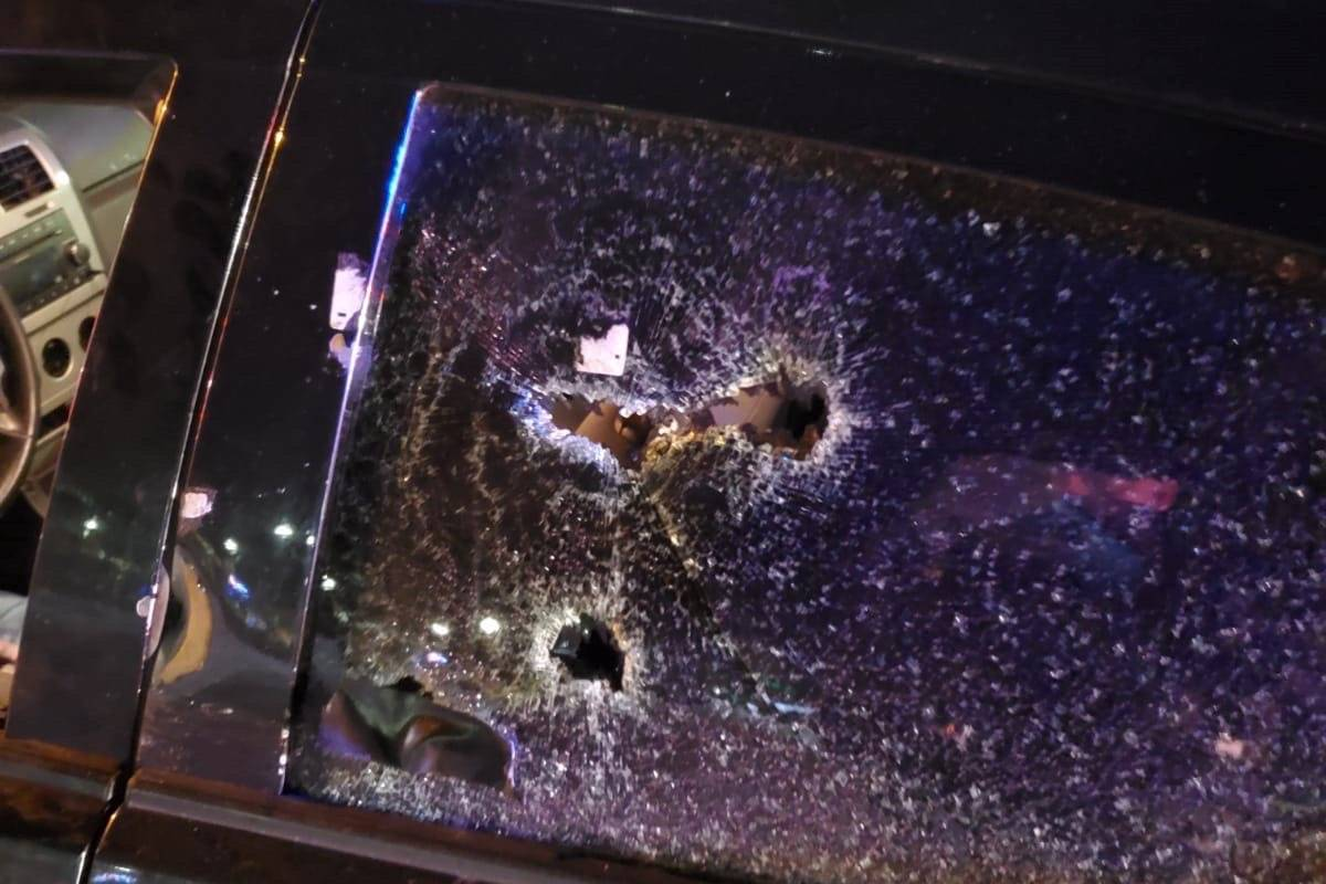 Police stopped car riddled with bullets in Whalley Monday night. (Photo: CFSEU)