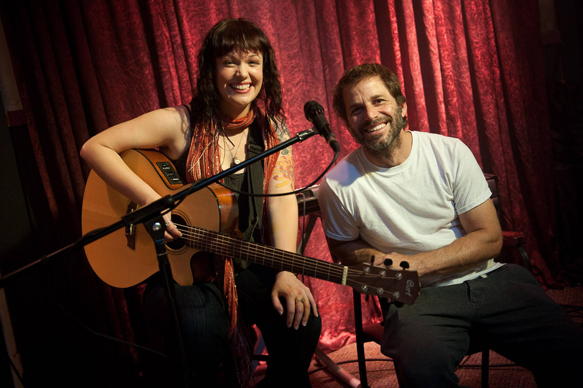 Nanaimo-raised singer Allison Crowe with director Zack Snyder on the set of 'Man of Steel' in 2011. Crowe performs a cover of Leonard Cohen's Hallelujah in the upcoming director's cut of 'Justice League.' (Photo courtesy Clay Enos)