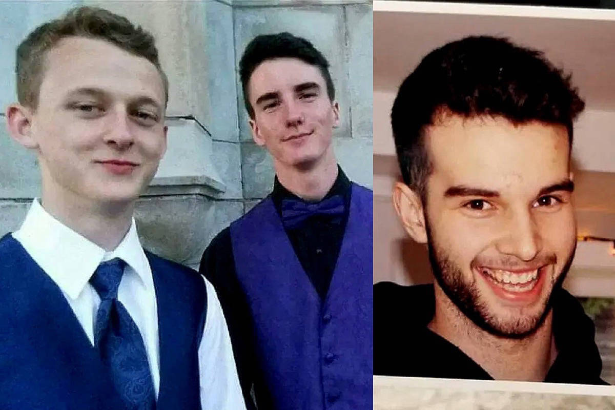 Cory Mills, Eric Blackmore and A.J. Jensen, all 20, drown in the Sooke River in February 2020. (Contributed photos)