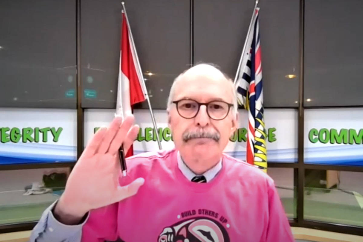 School board chair Rod Ross voted on the Langley School District's annual budget on Tuesday, Feb. 23. The budget was impacted by the pandemic in several ways. (YouTube/Special to the Langley Advance Times)