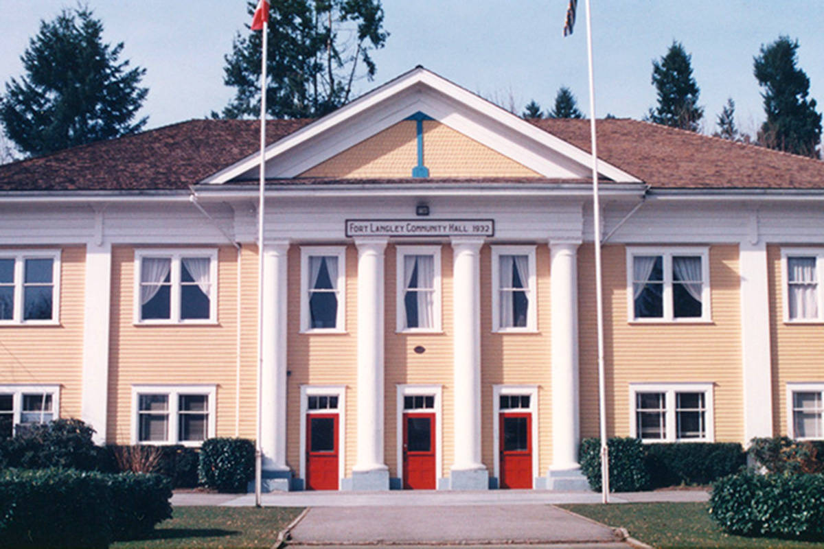 Fort Langley Community Hall in the 1990s. (Langley Centennial Museum/Special to The Star)