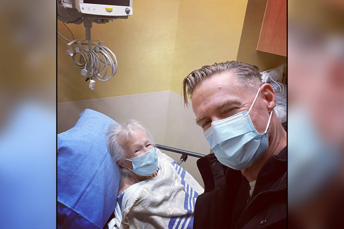 Bryan Adams with his mom, Jane Adams Clark, at Lions Gate Hospital. (Bryan Adams)