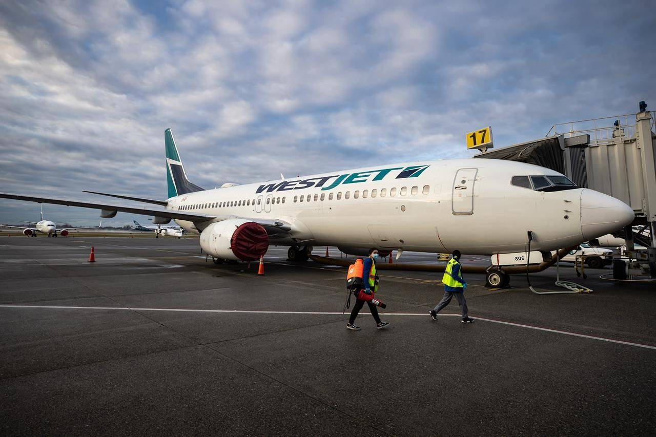 A worker carrying a disinfectant sprayer walks past a WestJet Airlines Boeing 737-800 aircraft, after cleaning another plane at Vancouver International Airport, in Richmond, B.C., on Thursday, January 21, 2021. THE CANADIAN PRESS/Darryl Dyck