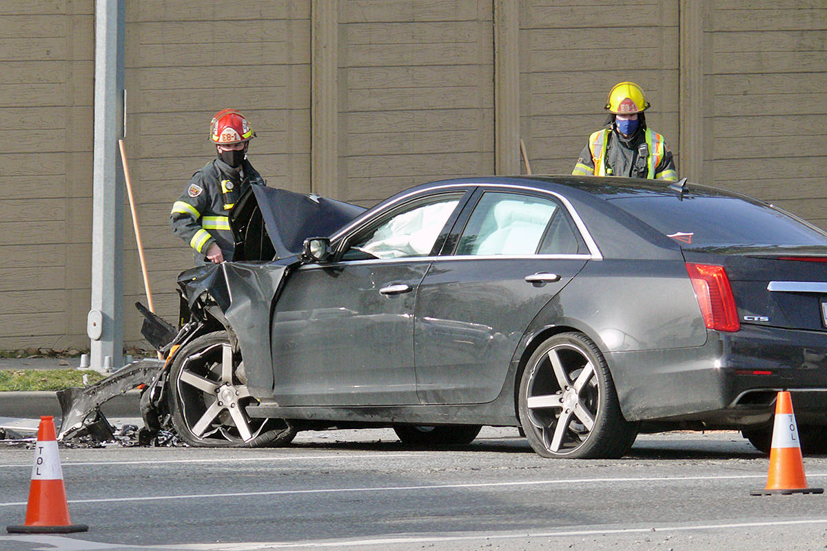 One car suffered extensive front end damage in a Saturday afternoon crash southbound on 200th Street near the 88th Avenue intersection (Dan Ferguson/Langley Advance Times)