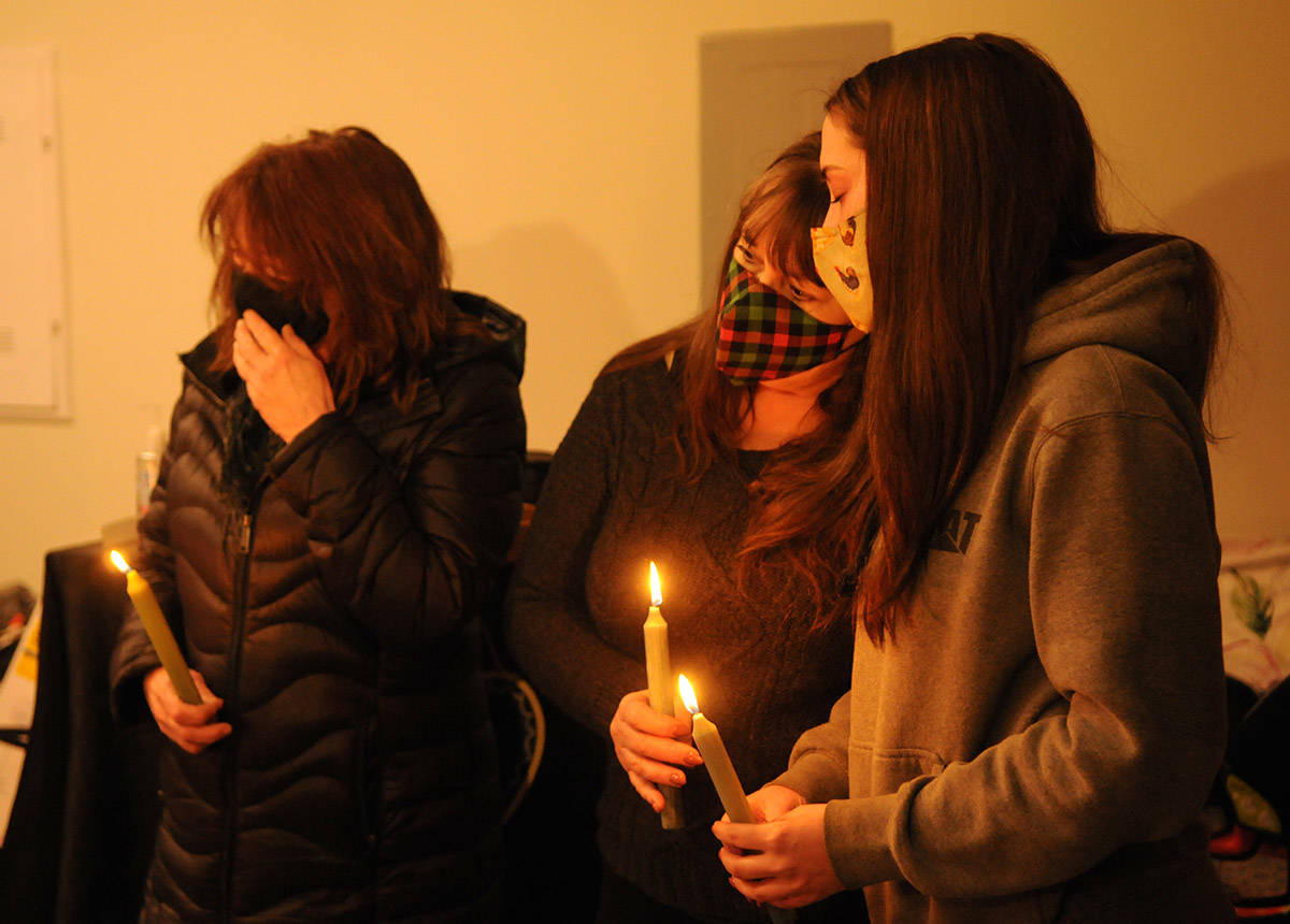 Family and friends gather for a small candlelight vigil for missing Chilliwack mom, Shaelene Bell, on Saturday, Feb. 27, 2021. (Jenna Hauck/ Chilliwack Progress)
