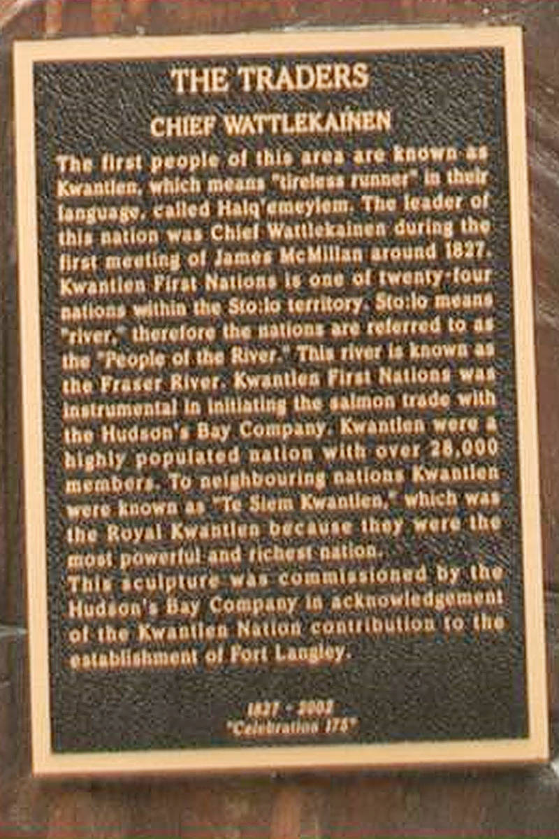 """One of the stolen plaques, taken late last year from the """"Traders"""" statues (Langley City image)"""