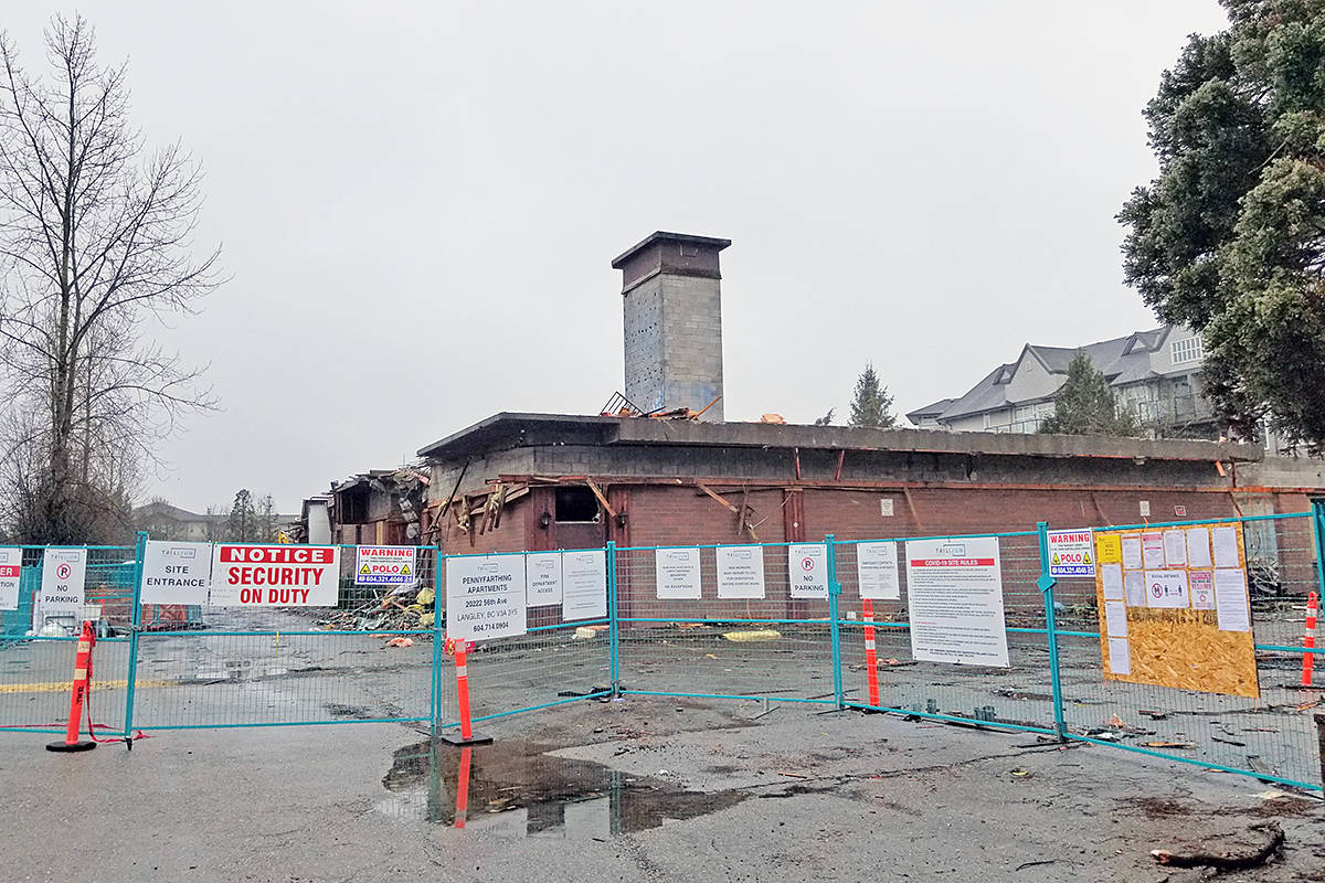 As of Sunday, Feb. 28, demolition of the West Country Hotel in Langley City was well under way (Dan Ferguson/Langley Advance Times)