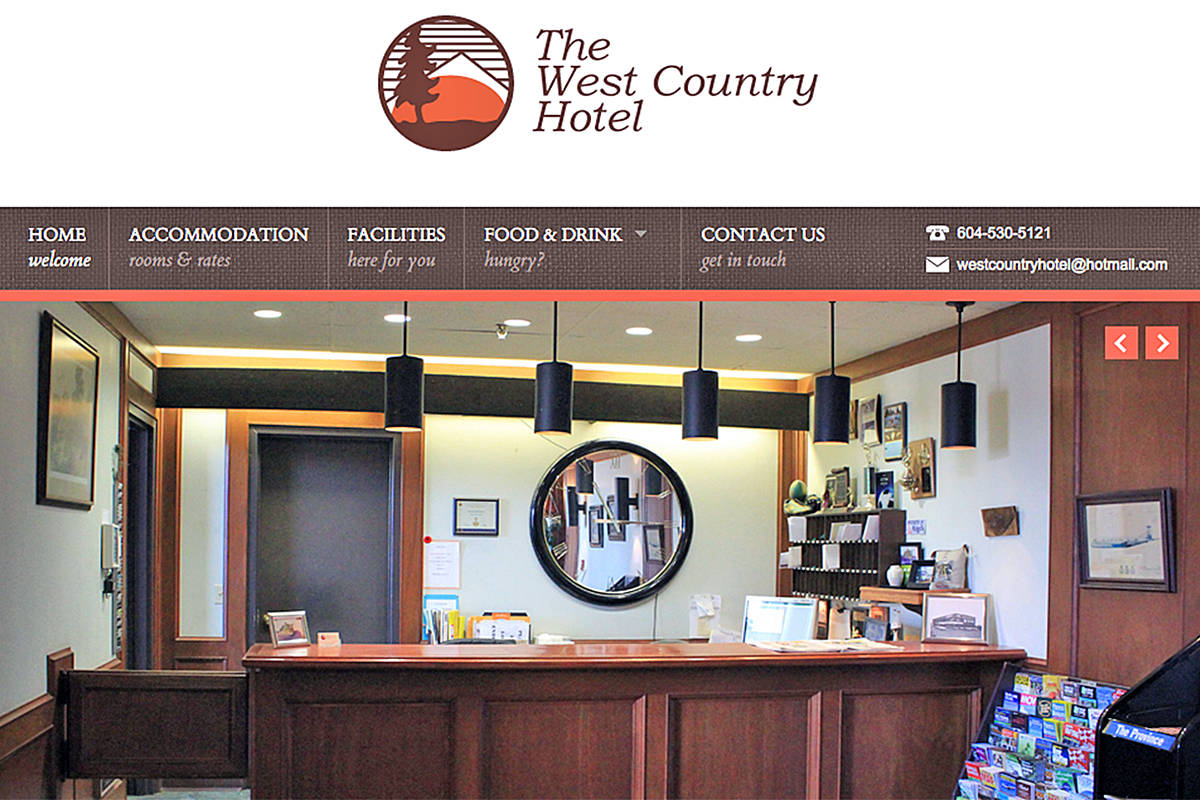 It may be half-demolished, but the West Country Hotel in Langley City lived on, online, as of Sunday, Feb. 28, 2021 (web image)