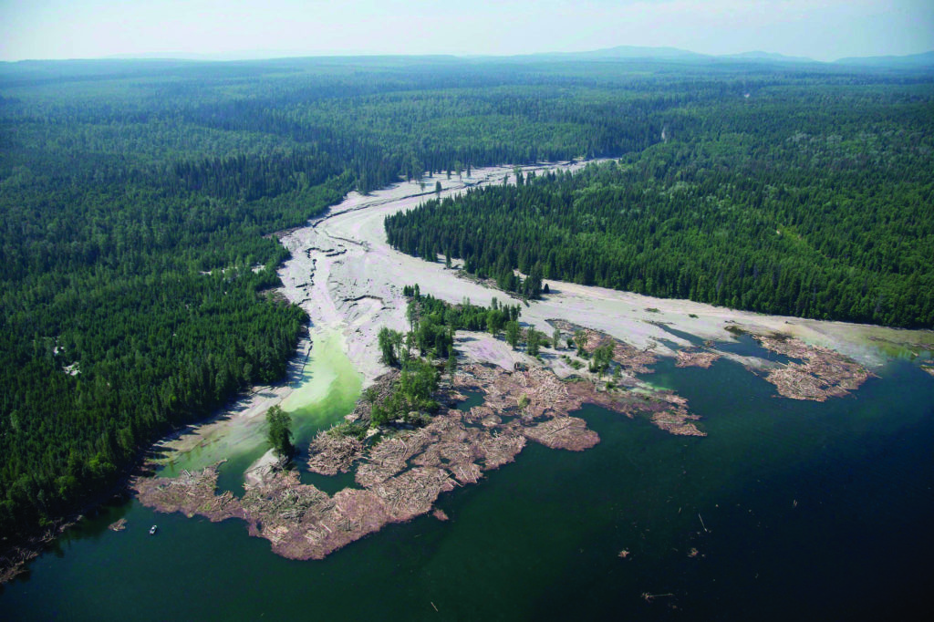 Contents from a tailings pond is pictured going down the Hazeltine Creek into Quesnel Lake near the town of Likely, B.C. on Aug. 5, 2014. (Photo by Jonathan Hayward)